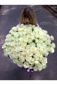 101 белая роза 80 см