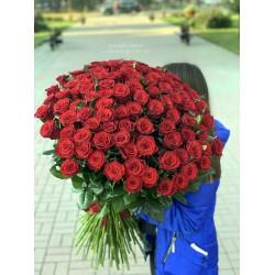 101 красная роза 90 см