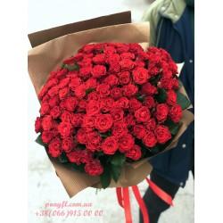 101 красная роза Эль Торо 60 см
