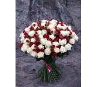 101 роза микс белых и красных кустовых 70 см