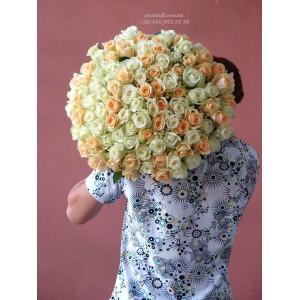 101 роза микс белых и кремовых 60 см