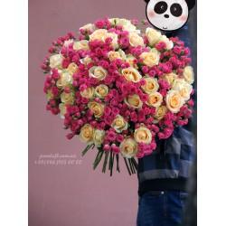 101 роза микс кремовых и розовых кустовых 70 см