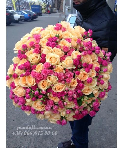 101 роза микс обычной и кустовой
