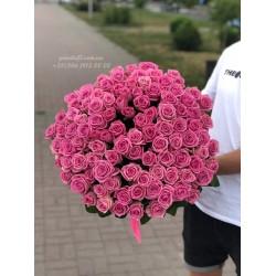 101 розовая роза Аква 70 см