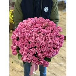 101 розовая роза Аква 80 см