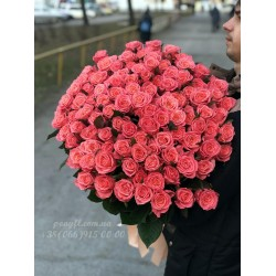 101 розовая роза Карина 90 см
