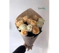11 роз микс кремовых и белых