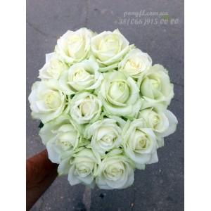 15 белых роз 80 см