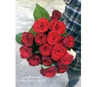 15 красных роз 70 см