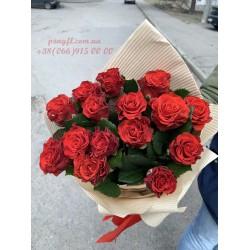 15 красных роз Эль торо 50 см