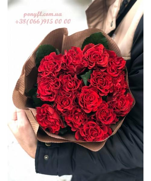 15 красных роз Эль торо 70 см