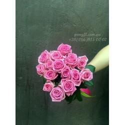15 розовых роз Аква 60 см