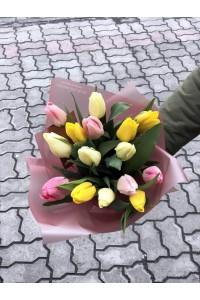 15 тюльпанов микс 3 цвета Нежный