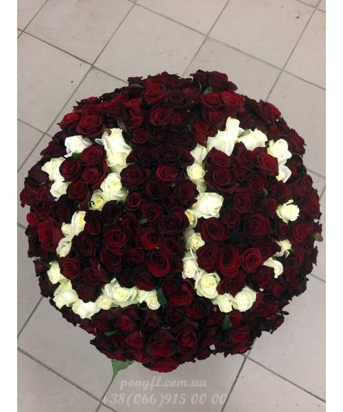 151 красная роза 70 см с цифрой 20