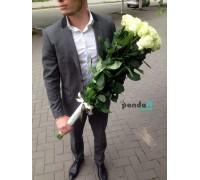 17 белых роз 90 см