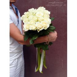 19 белых роз 80 см
