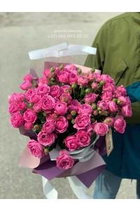 19 кустовых роз темно розовых 60 см