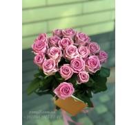 19 розовых роз Аква 50 см
