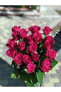19 розовых роз Шангрила 70 см