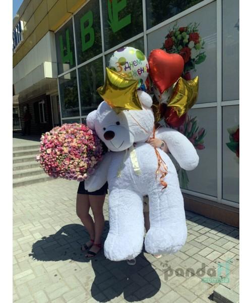 201 кустовая роза и мишка 200 см с шариками