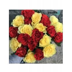 21 роза микс красных и желтых 60 см