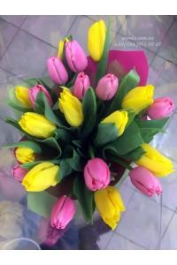 21 тюльпан микс желтых и розовых