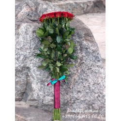 25 красных роз Гран При 90 см