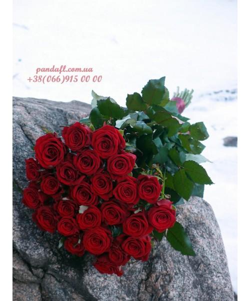 25 красных роз Престиж 90 см
