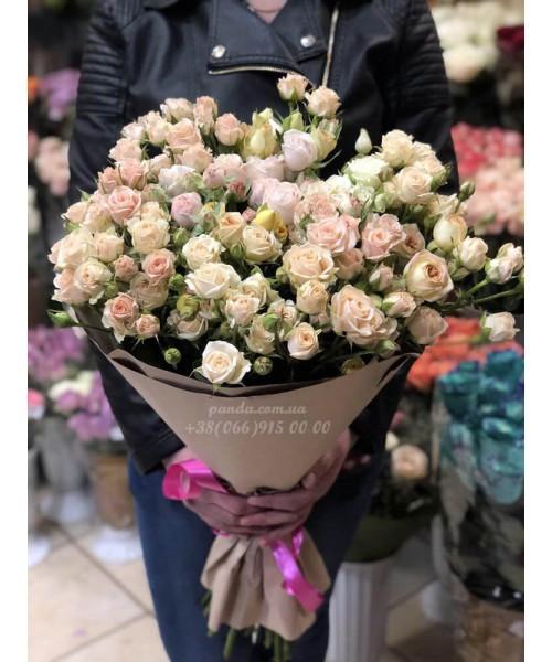 25 кустовых роз 60 см