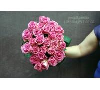 25 розовых роз Аква 70 см