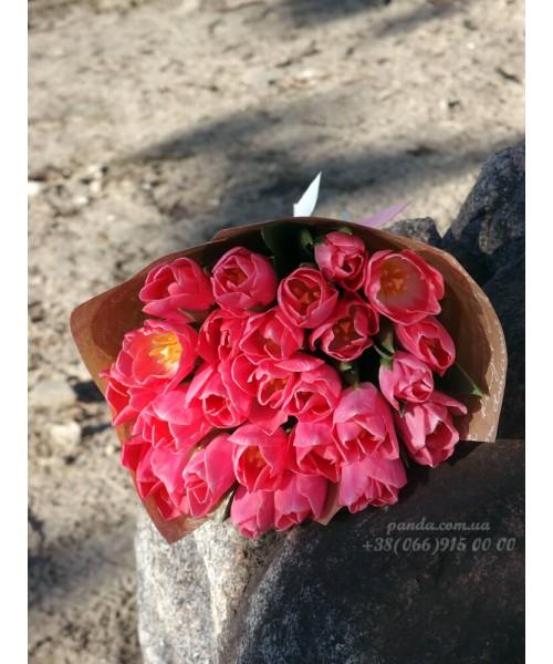 25 розовых тюльпанов