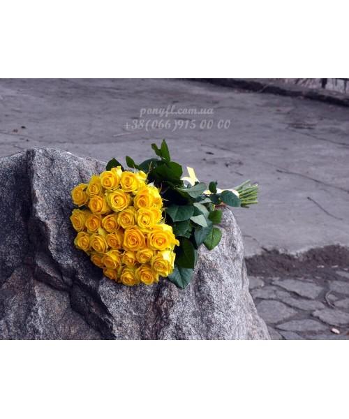 25 желтых роз Илиос 80 см