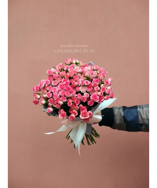 31 кустовая роза розовая 40 см