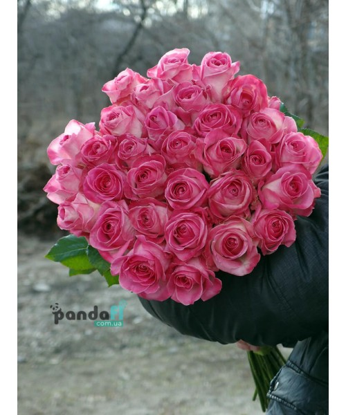 31 розовая роза Канди 80 см