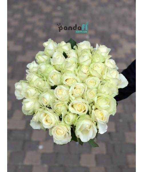 33 белые розы 60 см