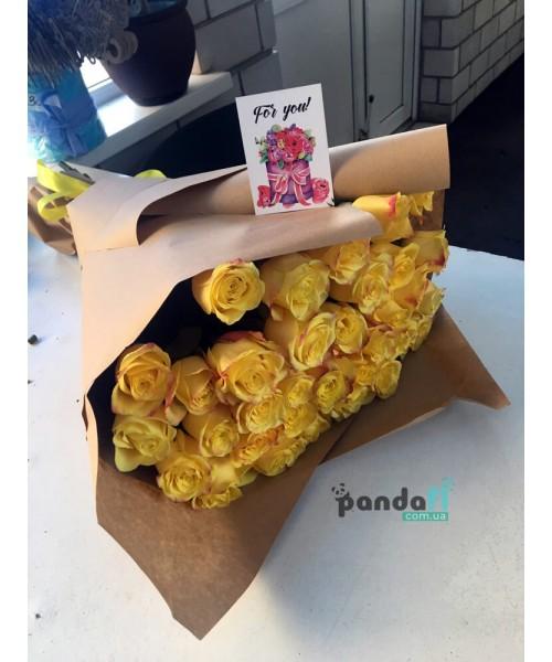 33 желтые розы 60 см