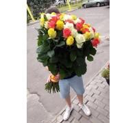 35 роз микс 4 цвета 80 см
