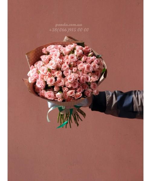 39 кустовых роз розовых 40 см