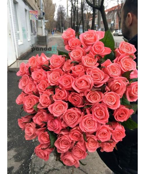 41 розовая роза Карина 80 см