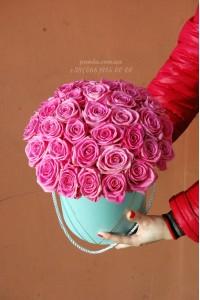 41 розовая роза в коробке