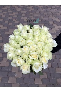 45 белых роз 60 см