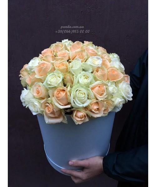51 белая и кремовая роза в коробке