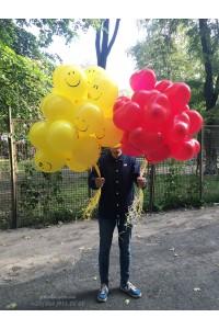 51 гелиевый шар микс желтых и красных
