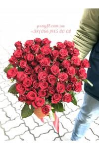 51красная роза Престиж 60 см