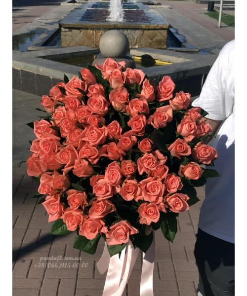 51 розовая роза 90 см