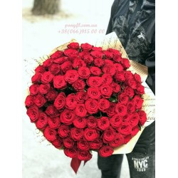 75 красных роз 60 см