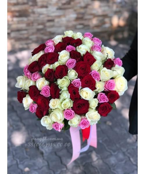 75 роз микс 3 цвета 70 см
