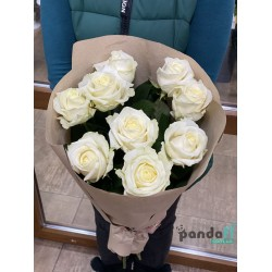 9 белых роз
