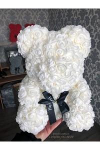 Белый мишка из роз