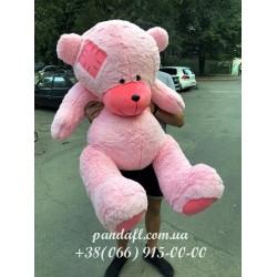 Мишка 160 см розовый с латкой